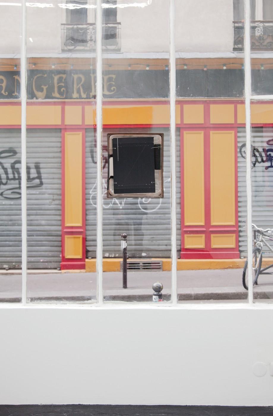 ♥ Bradley Kronz,  Untitled , 2013   Acrylic box, cardstock, ink, tape, wire, flashlight, book jacket   40 x 34 x 16 cm / 18 x 13 x 8 in OLGA BALEMA  DAVID DOUARD  ALLISON KATZ  BRADLEY KRONZ  TOM HUMPHRIES  HAN-CHRISTIAN LOTZ  LAURE PROUVOST
