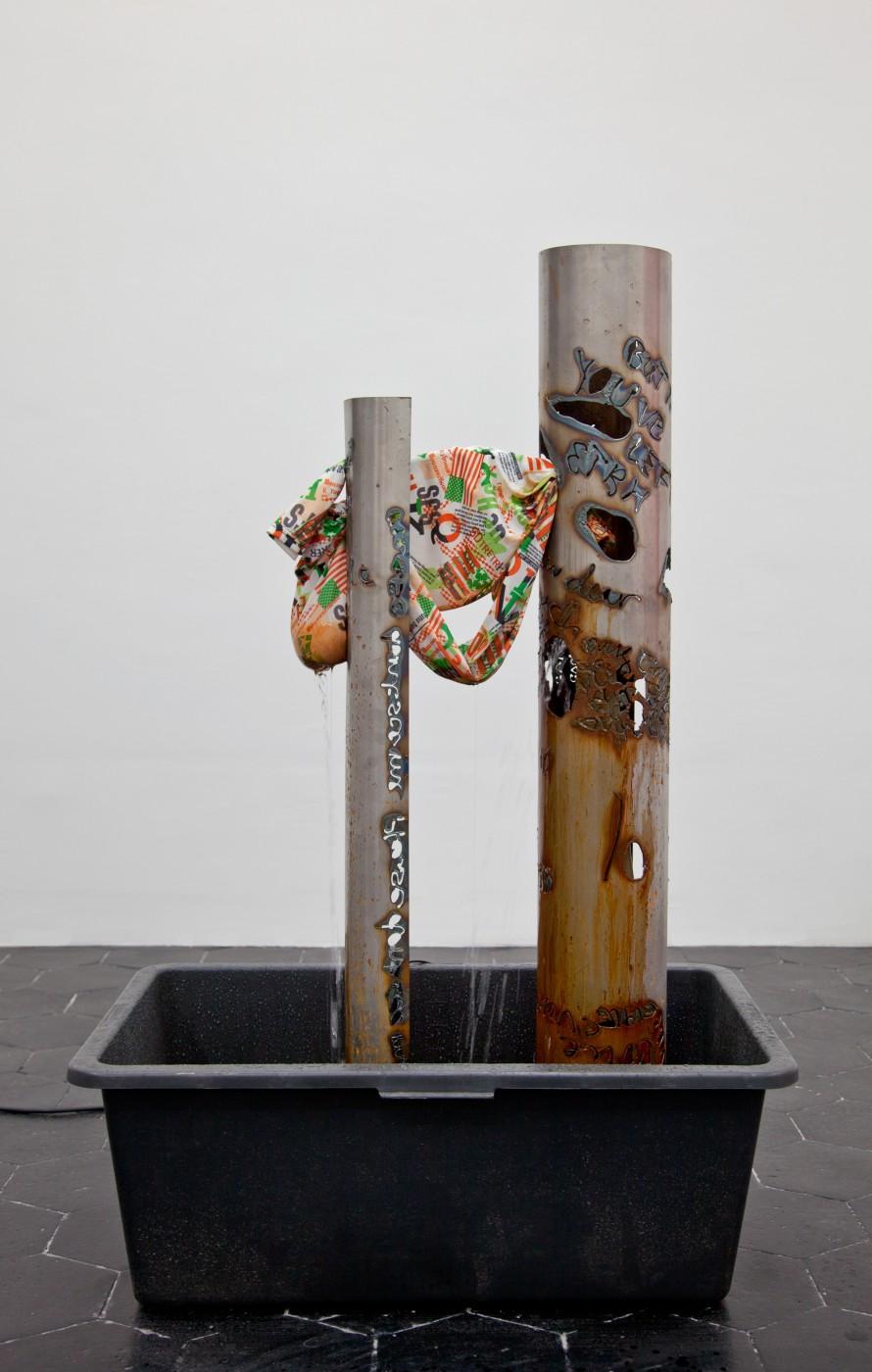 ♥ Olga Balema,  Untitled , 2013   Fabric, plastic tub, pump, steel, water   150 x 80 x 50 cm / 60 x 31 x 20 in OLGA BALEMA  DAVID DOUARD  ALLISON KATZ  BRADLEY KRONZ  TOM HUMPHRIES  HAN-CHRISTIAN LOTZ  LAURE PROUVOST