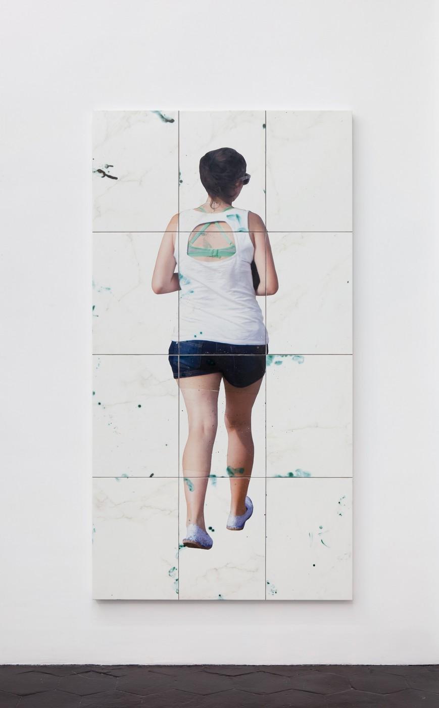 Tours  Untitled , 2014   Glazed ceramics, ceramic transfer, aluminium, wood   181 x 91 x 3,5 cm / 71.2 x 35.8 x 1.3 in  Tom Humphreys