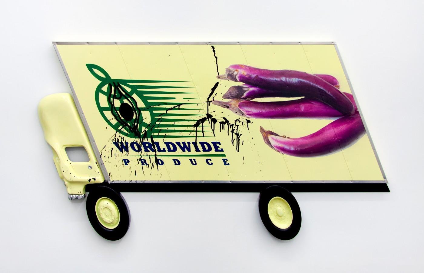 Wind Parade  Box Truck Painting (Japanese  Eggplant) , 2014   Inkjet, enamel, spray paint, urethane, pewter, aluminum, wood   80 x 160 x 3 cm / 31.4 x 63.9 x 1.2 in   Pentti Monkkonen