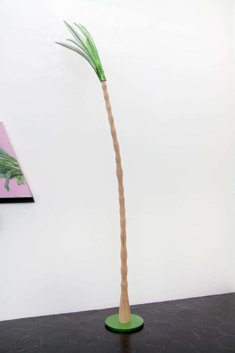 Wind Parade  Hurricane Palm , 2014   Poplar, aluminum, rechargeable LED light  245 x 60 x 55 cm / 96.5 x 23.6 x 19.7 in     Pentti Monkkonen