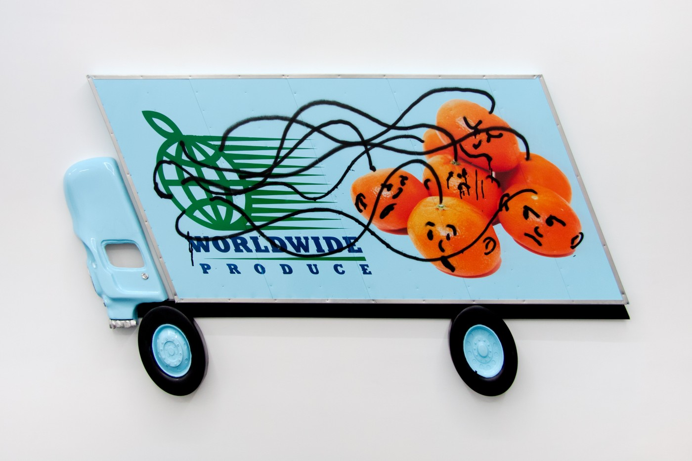Wind Parade  Box Truck Painting (Clementines) , 2014   Inkjet, enamel, spray paint, urethane, pewter, aluminum, wood  80 x 160 x 3 cm / 31.4 x 63.9 x 1.2 in   Pentti Monkkonen