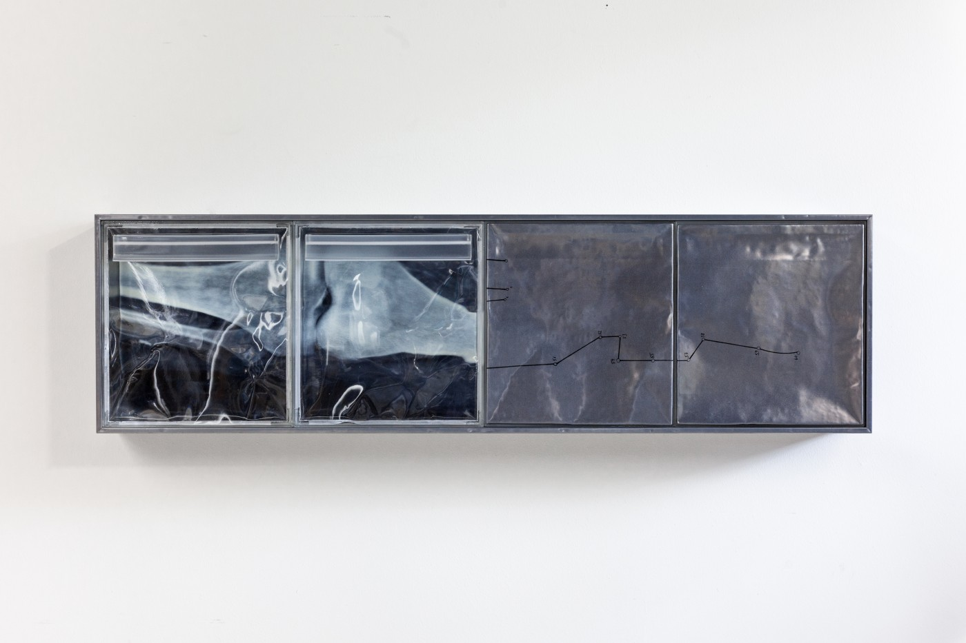 DEPOSIT  Deposits (central metropolis)</I>, 2015 Silkscreen on lead, inkjet print on acetate, UV resistant epoxy resin, aluminium panel 151 x 43 x 14 cm / 59.4 x 16.9 x 5.5 in