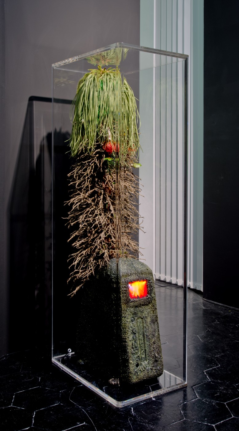 NATURE THEATER OF VIOLENT SUCCESSION  The Discovery of VHS</I>, 2015 (detail) Automotive console VHS Player, soil, sand, dried moss, polymer resin, plastic flora and botanicals, bootleg concert video (Marduk + Immortal '94), custom rounded acrylic vitrine 