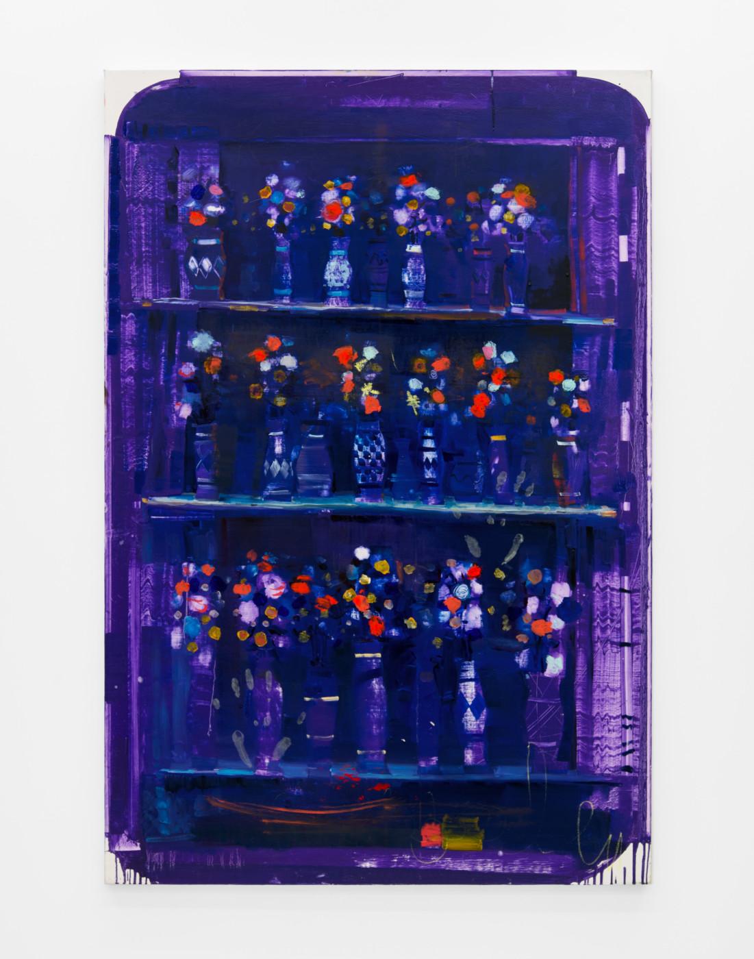 NATHAN ZEIDMAN  Provence Bluish Flowers #2 , 2018 Oil on canvas 152,4 × 101,6 cm / 60 × 40 in  - High Art Gallery Paris