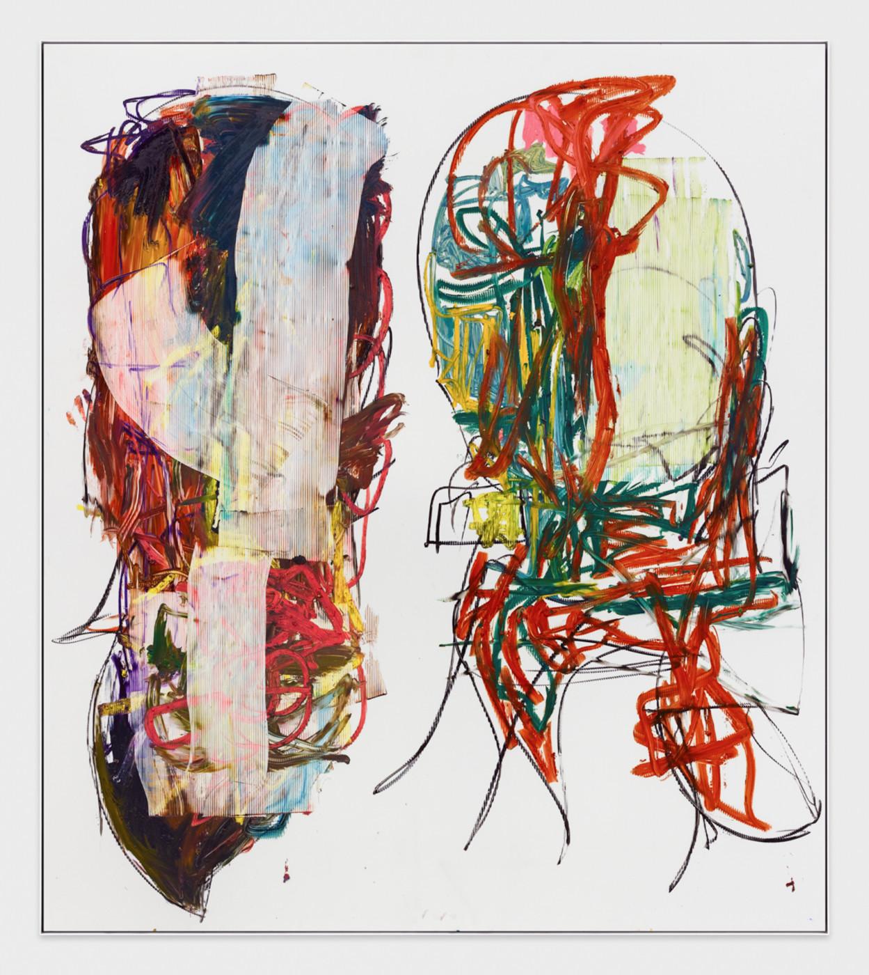 AARON  GARBER-MAIKOVSKA  DAUGHTER DUO 5 , 2019 Oil on fluted polyboard 231.7 × 205.7 cm / 91.25 × 80.9 in - High Art Gallery Paris