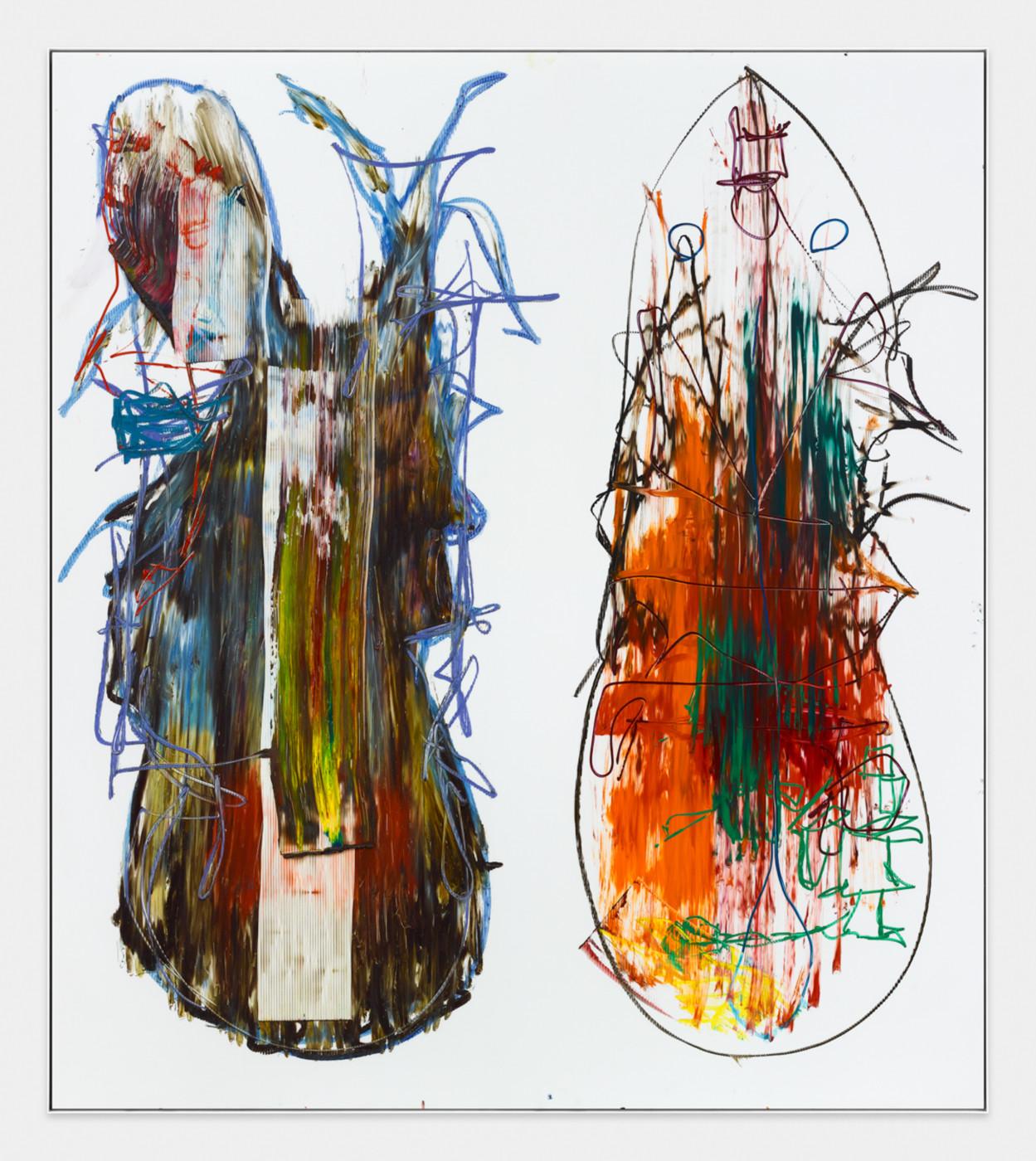 AARON  GARBER-MAIKOVSKA  DAUGHTER DUO 6 , 2019 Oil on fluted polyboard 231.7 × 205.7 cm / 91.25 × 80.9 in - High Art Gallery Paris