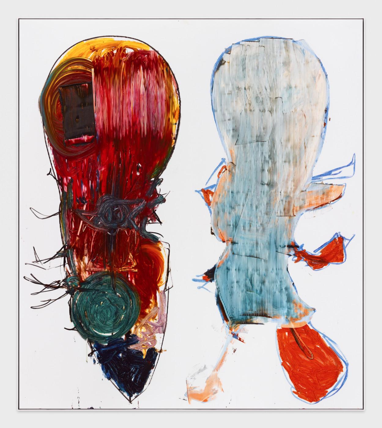 AARON  GARBER-MAIKOVSKA  DAUGHTER DUO 2 , 2019 Oil on fluted polyboard 231.7 × 205.7 cm / 91.25 × 80.9 in - High Art Gallery Paris