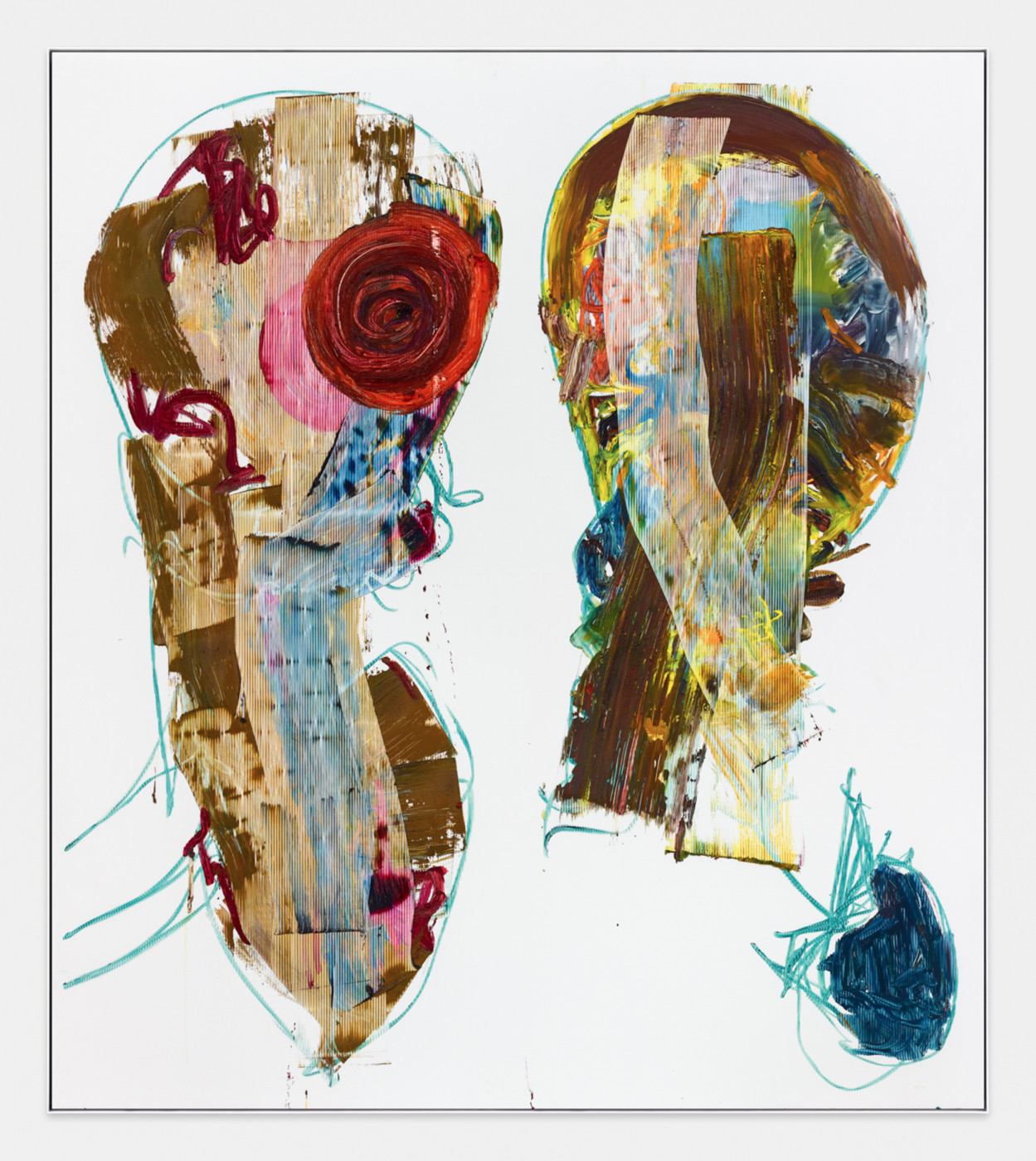 AARON  GARBER-MAIKOVSKA  DAUGHTER DUO 3 , 2019 Oil on fluted polyboard 231.7 × 205.7 cm / 91.25 × 80.9 in - High Art Gallery Paris
