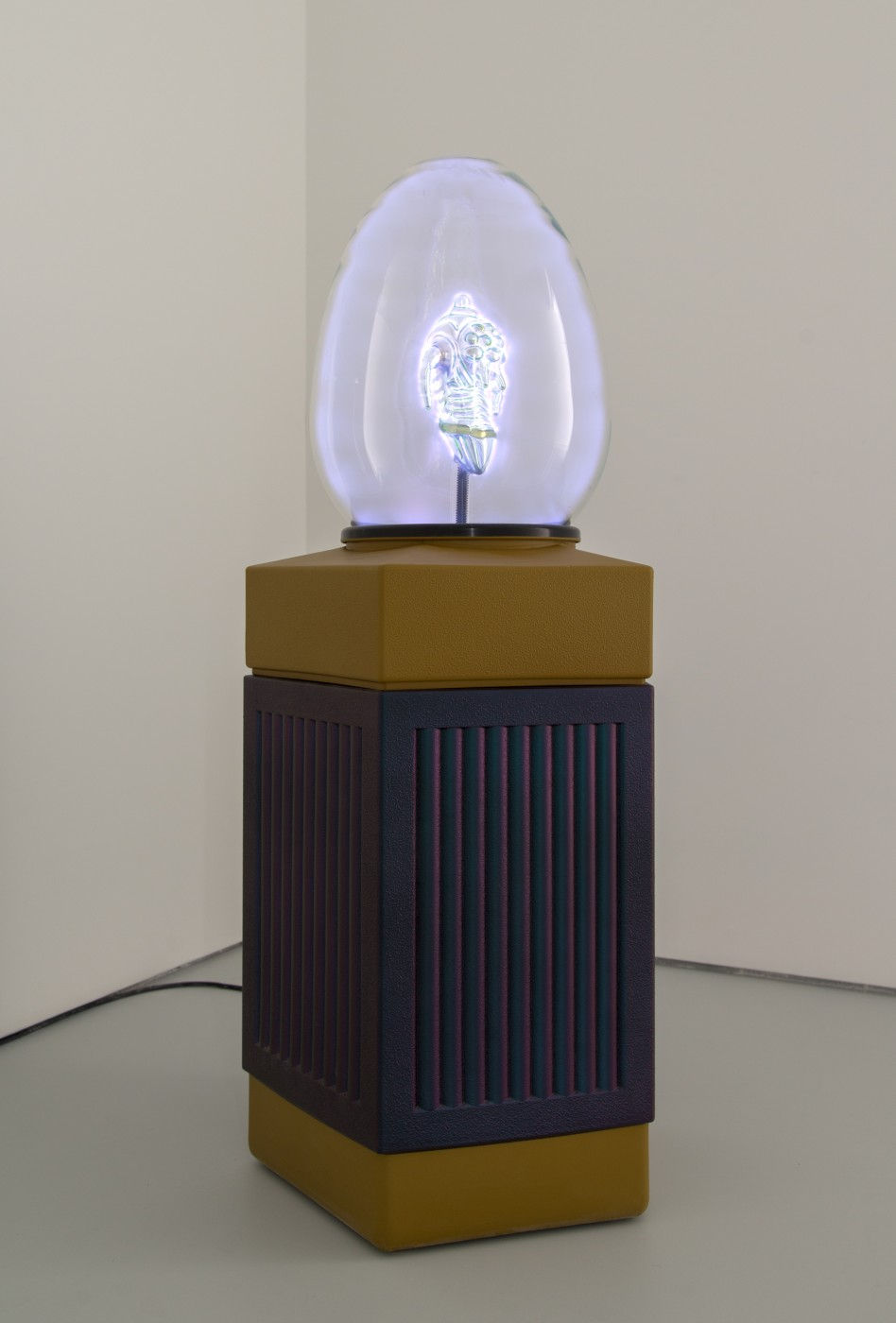 I&#8217;m Nobody! Max Hooper Schneider  Plasm(o)void 8 (Uranium Germ)</I>, 2017 Borosilicate oviform, Uranium glass sculpture, repurposed waste bin, noble gases, aluminum, rubber, and custom electronics 116 x 49 x 49 cm / 45.6 x 19.2 x 19.2 in