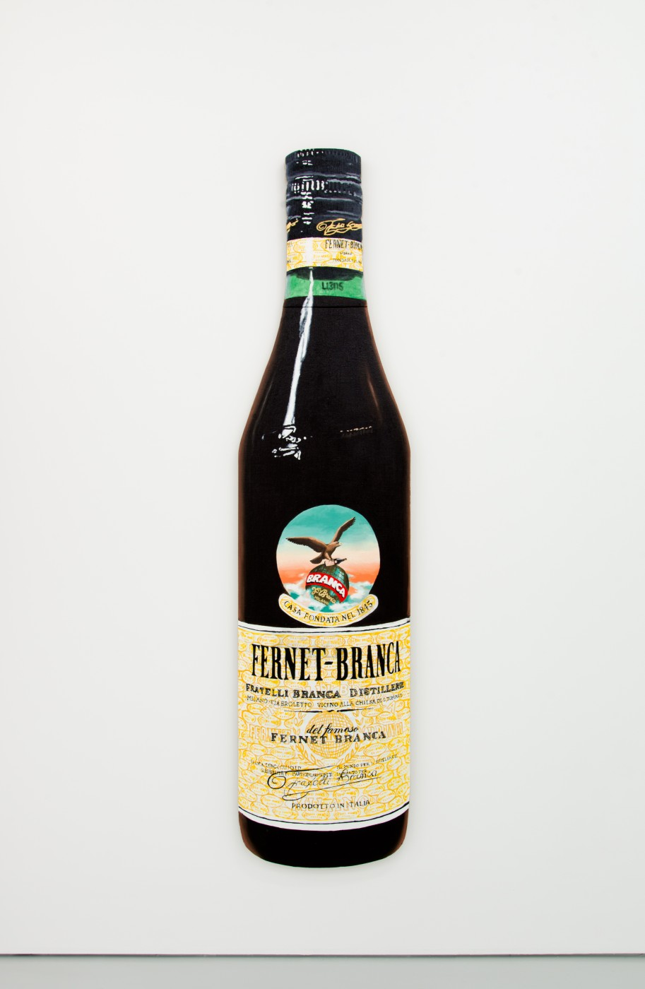 V.S.O.P.  Fernet-Branca</I>, 2017 Oil on linen stretched onto shaped wood board 212,5 x 55 cm / 83.7 x 21.7 in  PENTTI MONKKONEN