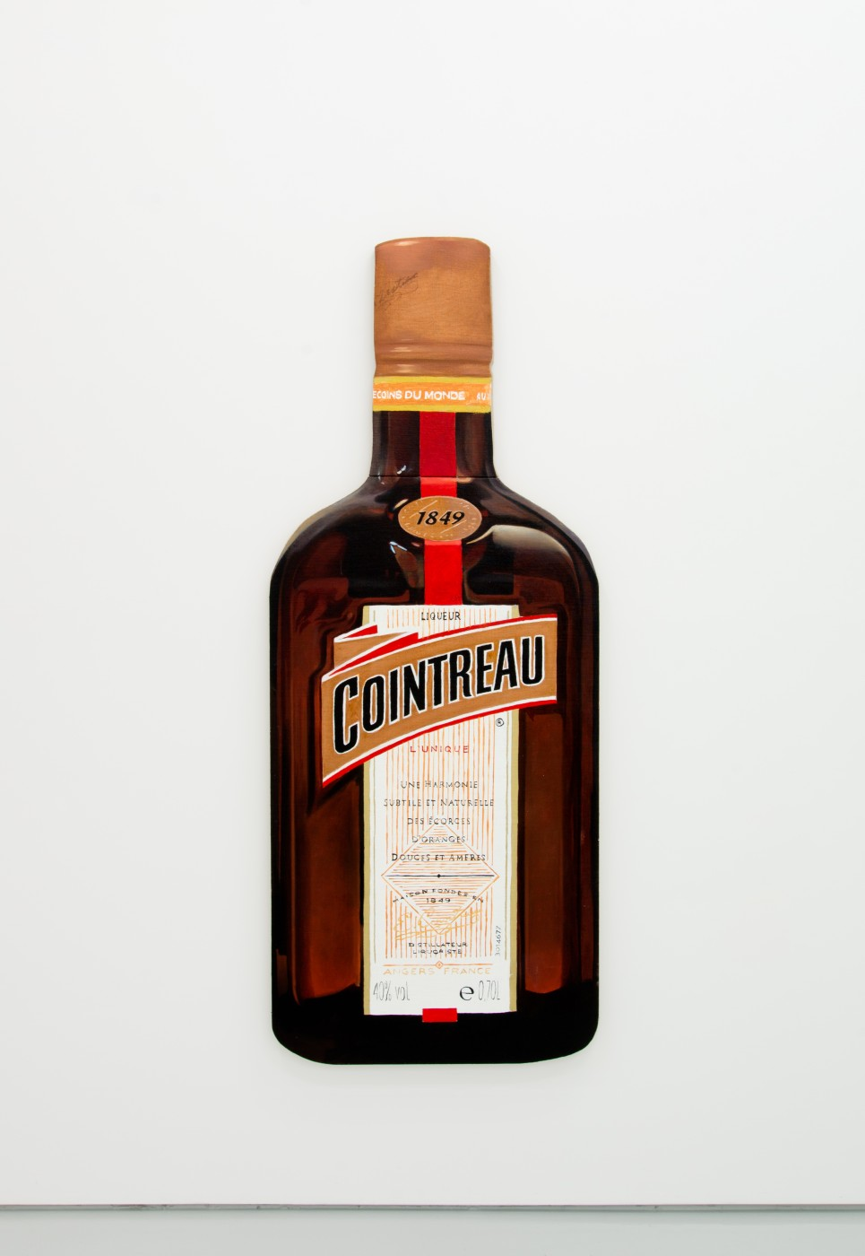 V.S.O.P.  Cointreau</I>, 2017 Oil on linen stretched onto shaped wood board 150 x 59,5 cm / 59 x 23.4 in  PENTTI MONKKONEN