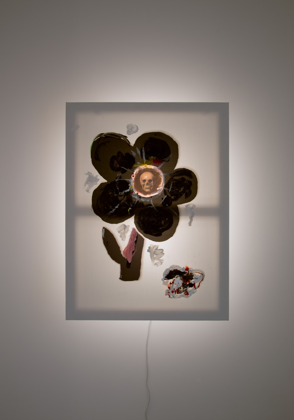 GOLD  Flower</I>, 2017 Acrylic and inkjet on vinyl, feathers, plastic bags, wood, steel, LED light 100 x 75 x 21 cm / 39.3 x 29.5 x 8.2 in  JOHN RUSSELL