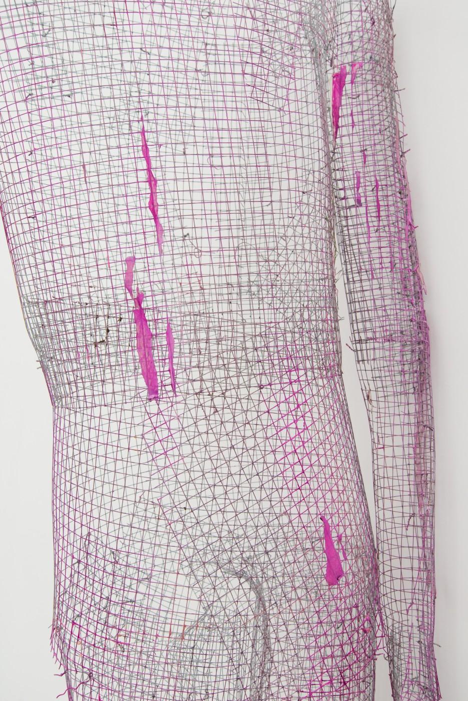 TOM HUMPHREYS  Figure Appuyée</I> (detail), 2018 Metal, paint, paper 230 × 63 × 25 cm / 90.5 × 24.8 × 9.8 in