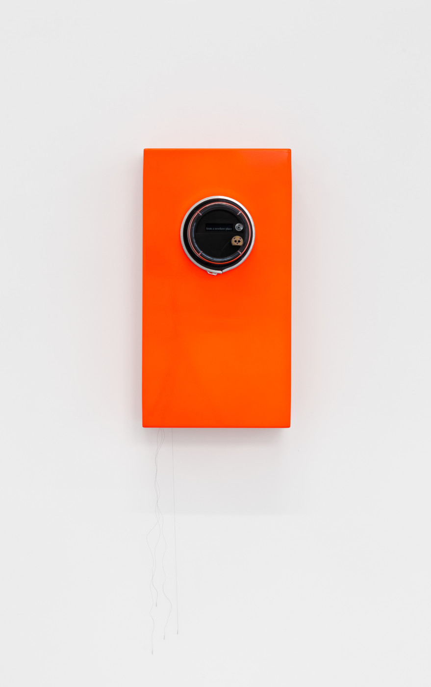 SUSCEPTIBLES  The Odds , 2018 Acrylic and PVC powermeter case, LED display, computer, motors, batteries, nylon sutures, aluminum and powder-coated steel 36 x 67 x 24 cm / 14.3 x 26.6 x 9.5 in  COOPER JACOBY