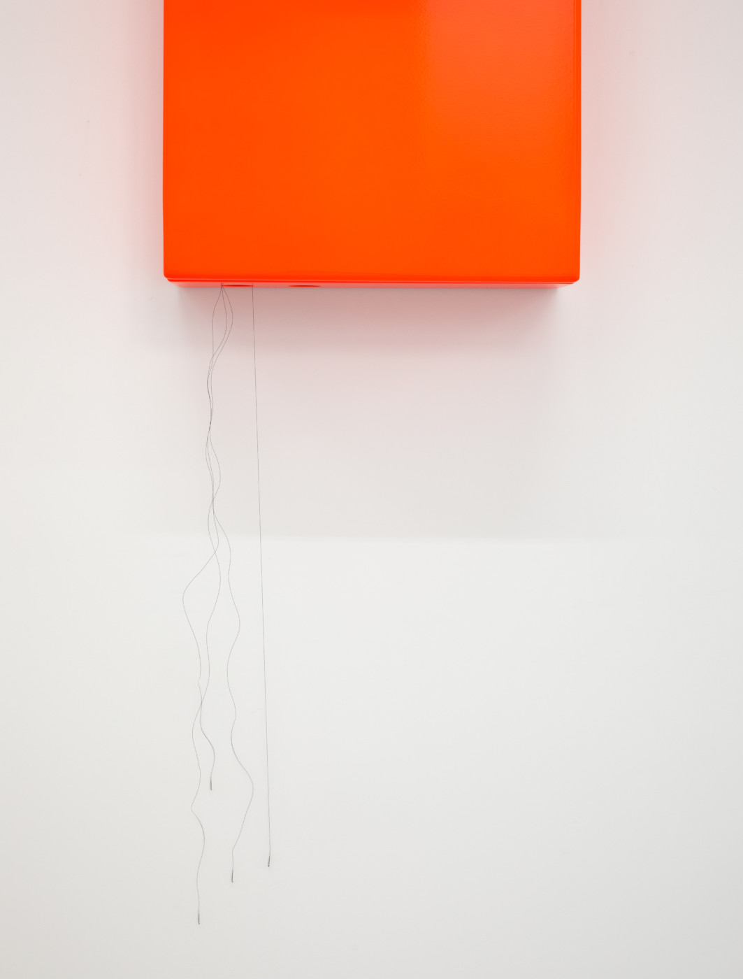 SUSCEPTIBLES  The Odds  (detail), 2018 Acrylic and PVC powermeter case, LED display, computer, motors, batteries, nylon sutures, aluminum and powder-coated steel 36 x 67 x 24 cm / 14.3 x 26.6 x 9.5 in  COOPER JACOBY