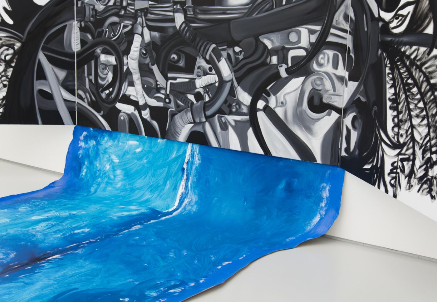 AUTOFELATIO  Autoeroticism  (detail), 2018 Oil on linen, hardware 279 x 289 cm / 109.8 x 113.8 in  Frieda Toranzo Jaeger