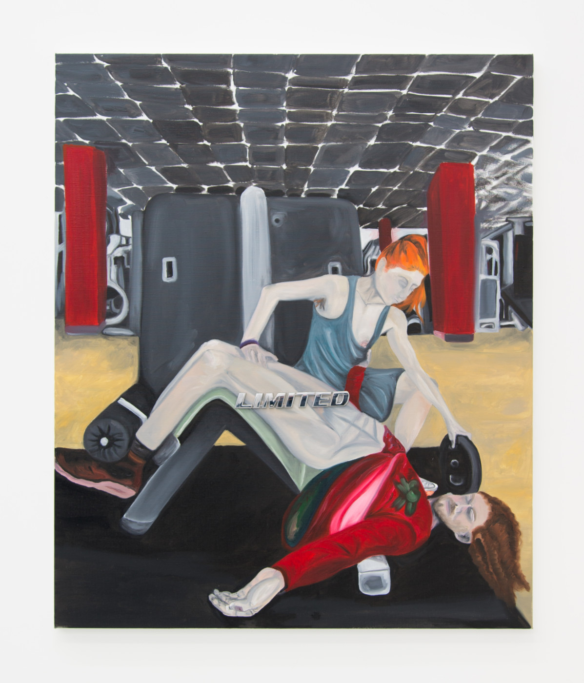 AUTOFELATIO  The Fitness Lesson - Limited Auto-improvement , 2018 Oil on linen, chromed plastic lettering 110 x 95 cm / 43.3 x 37.4 in  Frieda Toranzo Jaeger