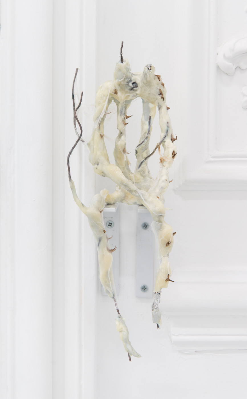 DEEPER THAN INSIDE Rolf Nowotny  Of Things Blooming at Night</I>, 2018 Epoxy, tin foil, copper and steel wire, thorns and plastic foil 27 x 12 x 10 cm / 10.6 x 4.7 x 3.9 in Theodora Allen  Olga Balema  Adam Gordon  Tom Humphreys  Dawn Mellor  Ragen Moss  Rolf Nowotny  Benjamin Reiss  Dylan Vandenhoeck