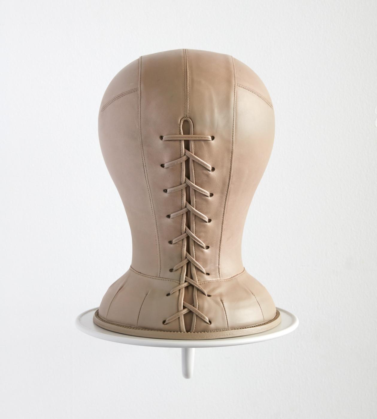 TÊTE  Tête fig. 1</I> (detail), 2019 Leather, wood, enamel, steel 43 x 25 x 53 cm / 16 7/8 x 9 7/8 x 20 7/8 in  ORION MARTIN