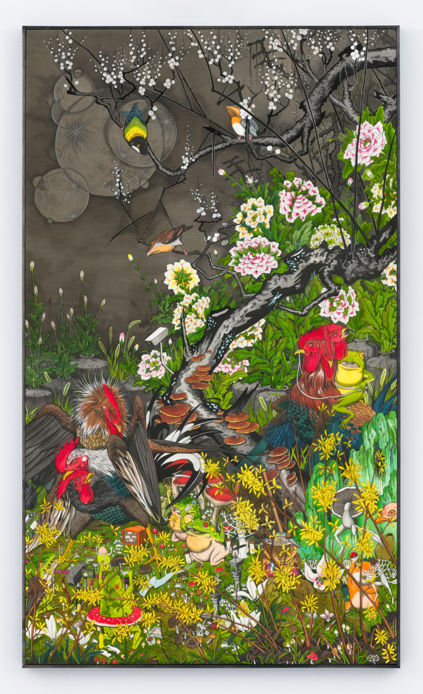 HUN KYU KIM  Plural Landscape ,2019 Pigment on silk 120 x 70 x 3.5 cm / 47.2 x 27.6 x 1.4 in  - High Art Gallery Paris