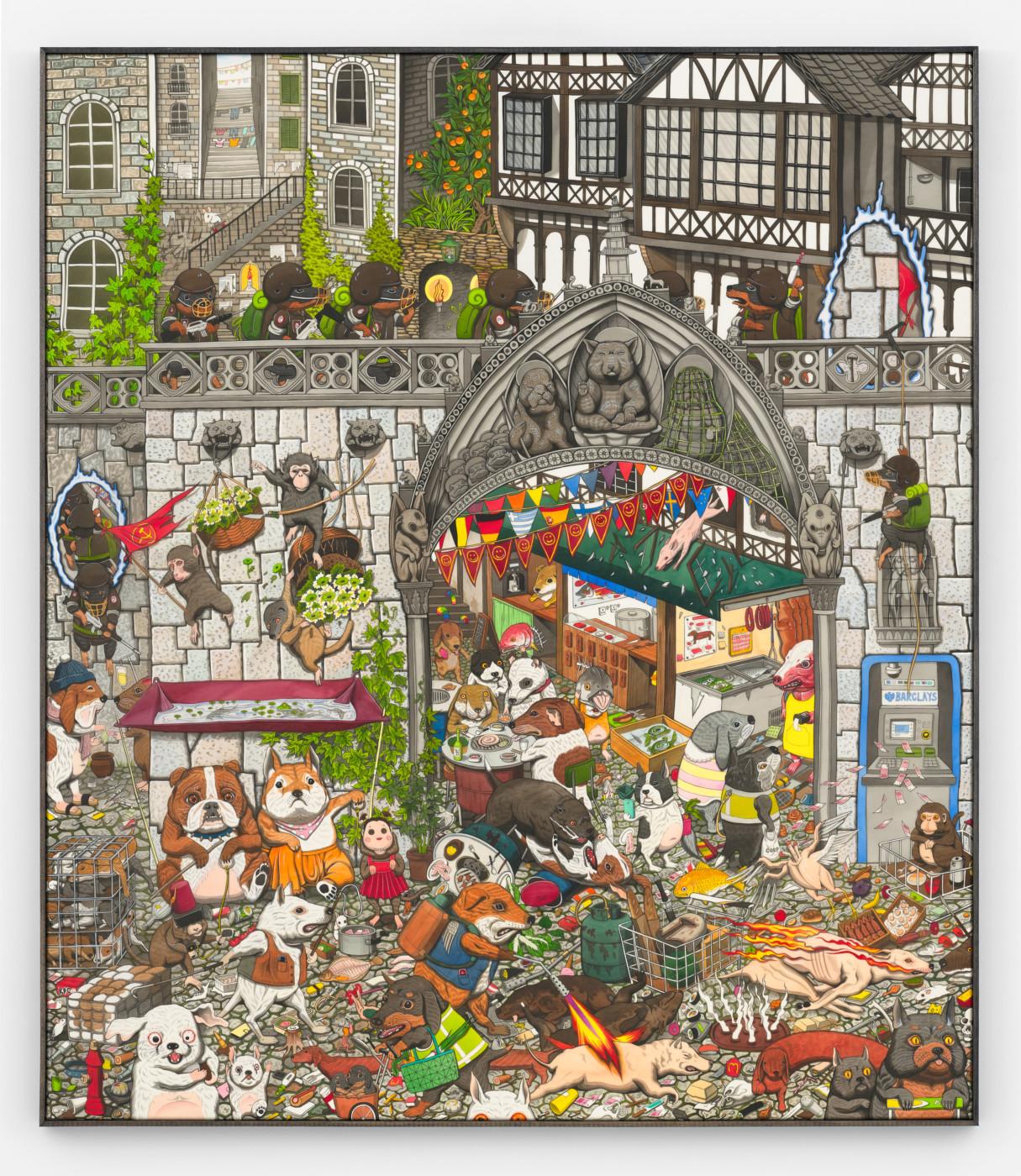 PURE WAR  Doggy Market , 2019 Pigment on silk 115 x 100 x 2.5 cm / 45.3 x 39.4 x 1 in - High Art Gallery Paris