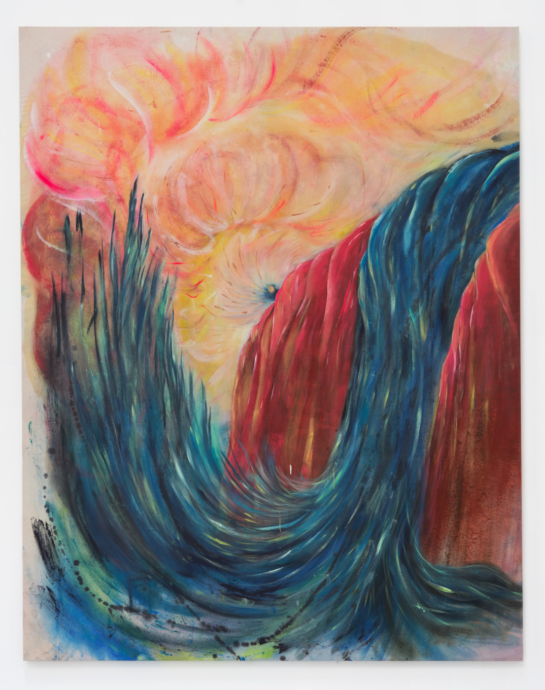 BORDERLINKING Nora Berman  A waterfall is the same as a pit of fire (psycho magickal dreamscape)</I>, 2020 Oil on muslin 200 x 160 cm / 78.7 x 63 in - High Art Gallery Paris