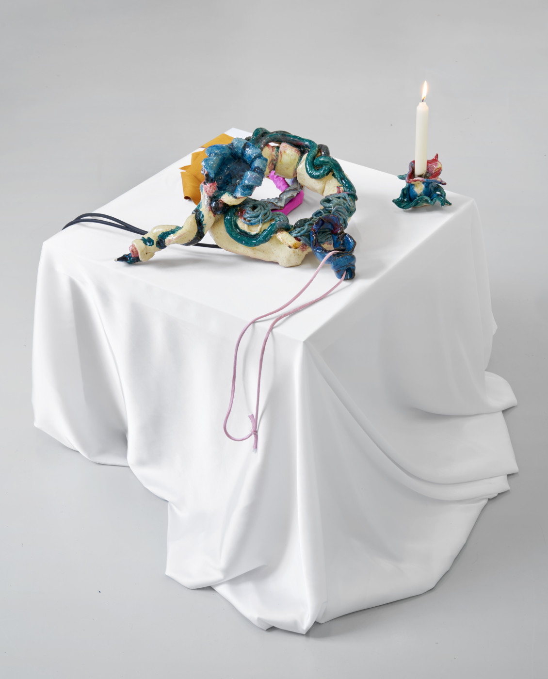 BORDERLINKING Nora Berman  1st Gen Props for Isis Unveiled Ouverture</I>, 2020 Glazed ceramics, contact microphones, wax, silk, lavender Variable dimensions - High Art Gallery Paris
