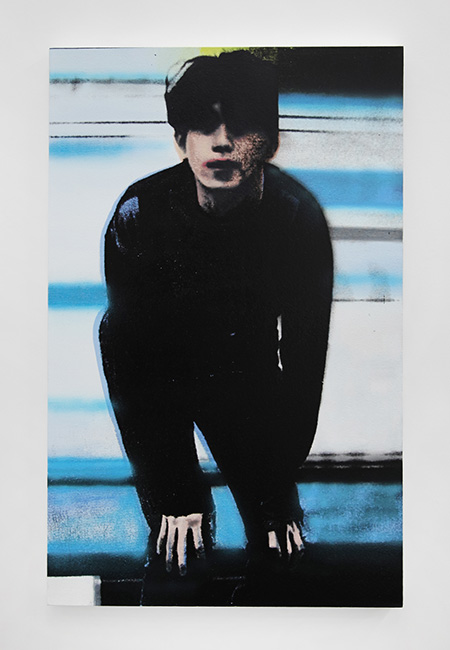 Calvinistic Girls  Quiche, Kookai Aime le Qui, so.uk , 2013   Silkscreen, oil and acrylic on canvas   90 x 57 cm / 35.4 x 22.4 in  Alan Michael