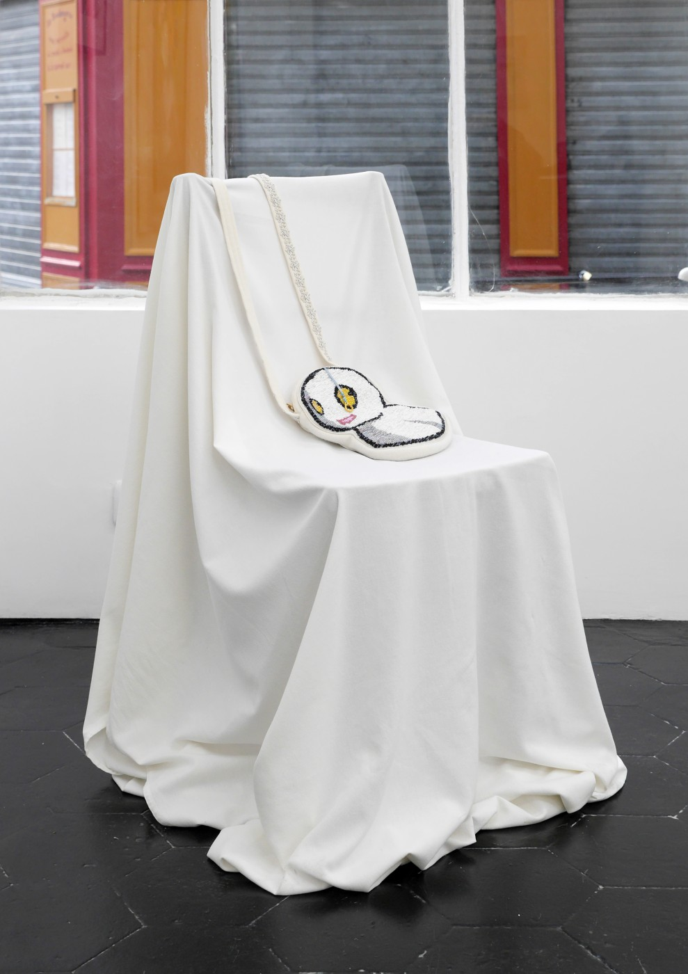 Significant Others (I Am Small, It's The Pictures That Got Big) Bunny Rogers,  Haunted chair with ghostkerchief purse , 2014  