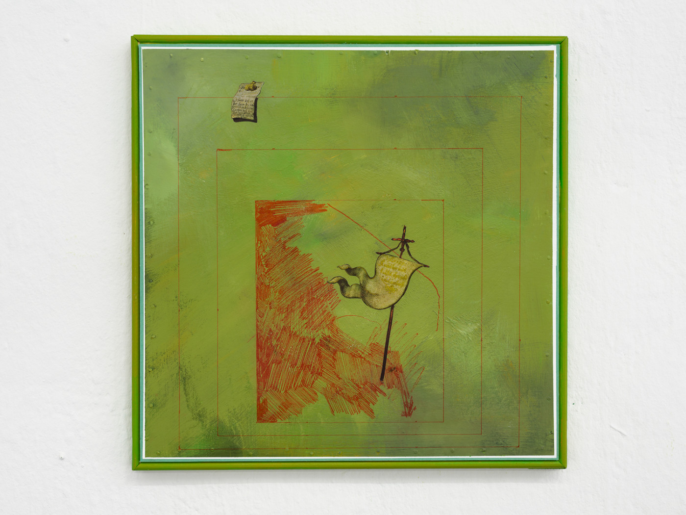 BRADLEY KRONZ  Long Hallway - Medicine , 2018 Marker, acrylic, collage, millboard, wood 43 x 43 cm / 17 x 17 in - High Art Gallery Paris