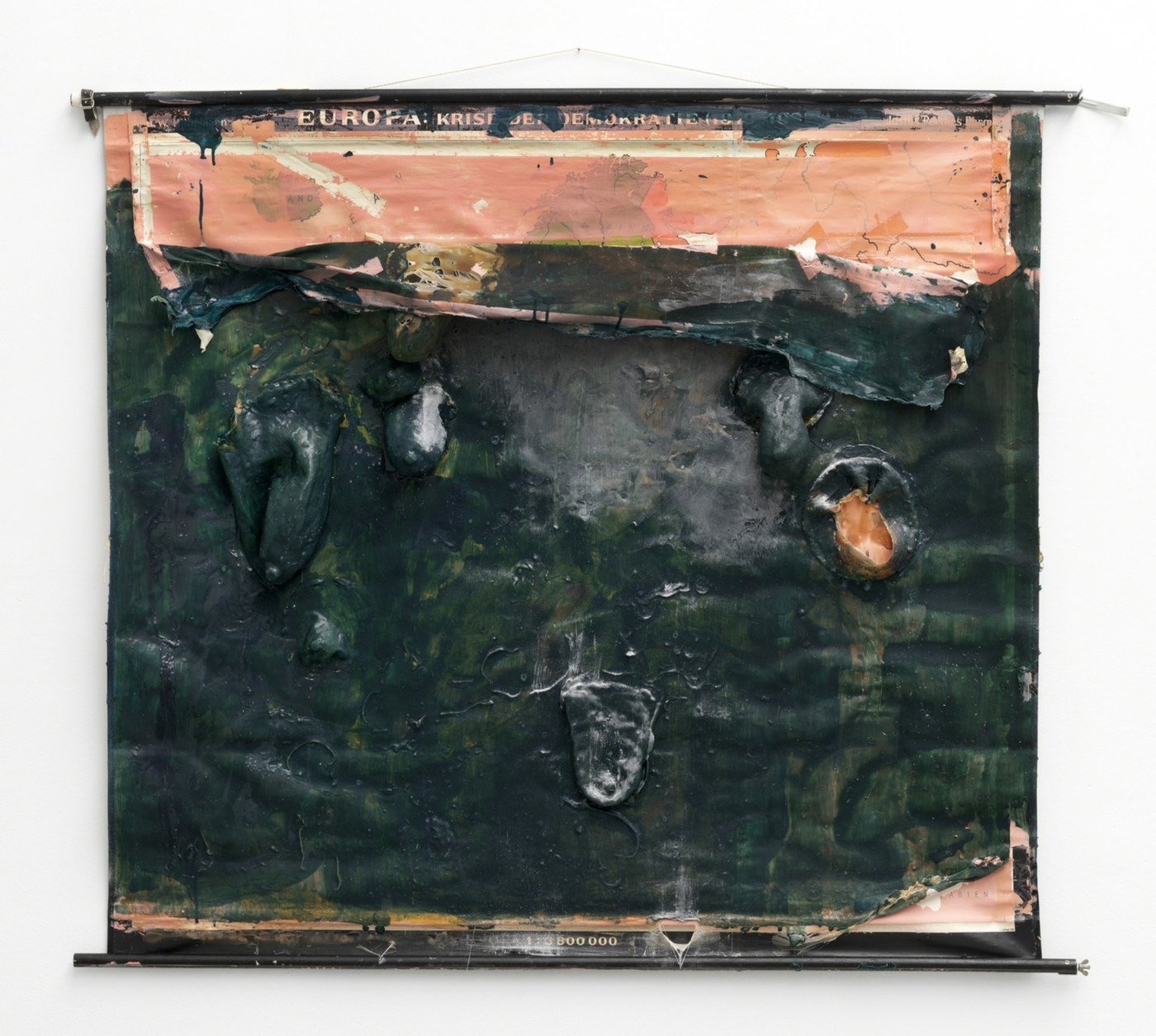 OLGA BALEMA  Necessity is the mother of all invention , 2016 Map, latex, pigment, acrylic paint 135 × 160 × 12 cm / 53.1 × 63 × 4.7 in - High Art Gallery Paris