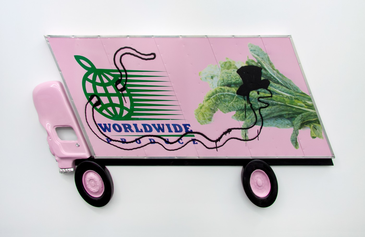 WIND PARADE  Box Truck Painting (Kale)</I>, 2014   Inkjet, enamel, spray paint, urethane, pewter, aluminum, wood   80 x 160 x 3 cm / 31.4 x 63.9 x 1.2 in - High Art Gallery Paris