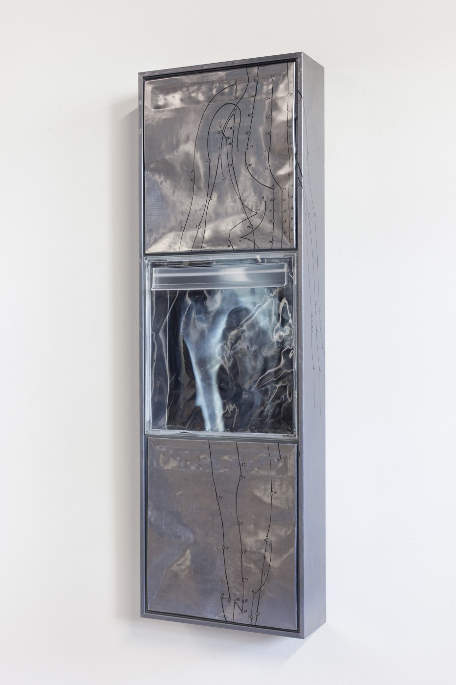 DEPOSIT  Deposits (channel ditch)</I>, 2015 Silkscreen on lead, inkjet print on acetate, UV resistant epoxy resin, aluminium panel 40 x 122 x 14 cm / 15.7 x 48 x 5.5 in
