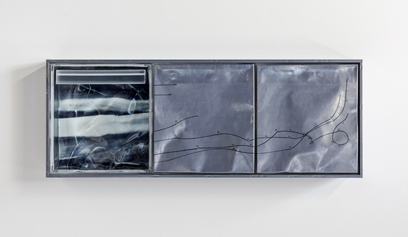 DEPOSIT  Deposits (lost sleep)</I>, 2015 Silkscreen on lead, inkjet print on acetate, UV resistant epoxy resin, aluminium panel 114 x 43 x 14 cm / 44.8 x 16.9 x 5.5 in