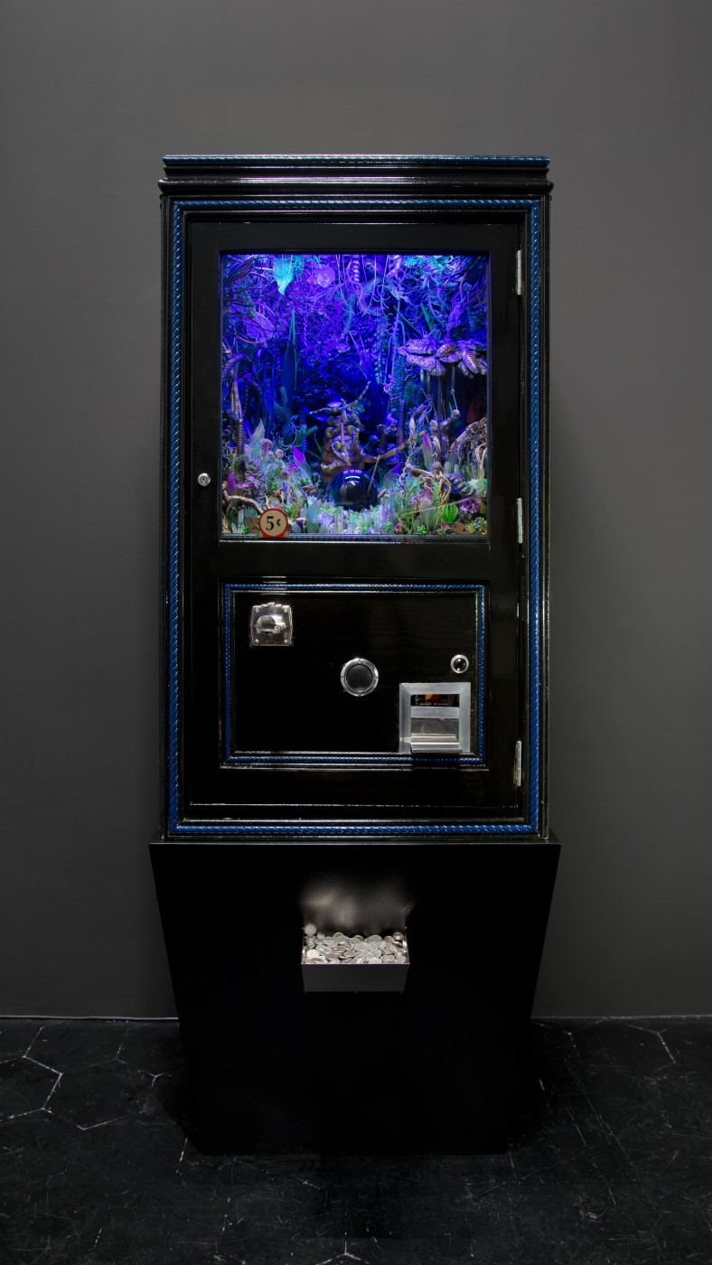 NATURE THEATER OF VIOLENT SUCCESSION  The Plaguewielder</I>, 2015 Custom fortune teller cabinet, animatronic flea model, aluminum sloping plinth, blacklights, crystal ball and rotating stand, custom fortune cards, plastic flora, dried organic flora, assorted crystals, animal and marine invertebrate matter, taxonomic specimens, assorted dried fungi, fish hooks, coprolites, dried mealworms, modeled acrylic windows, plastic screening 180 x 57 x 51 cm / 71 x 22.4 x 20 in   MAX HOOPER SCHNEIDER