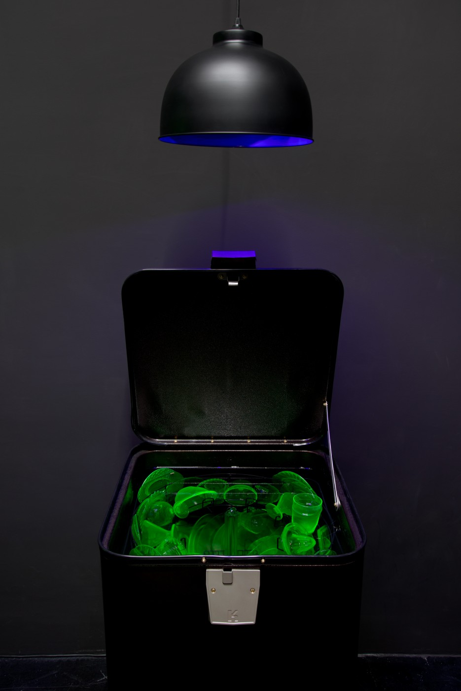 NATURE THEATER OF VIOLENT SUCCESSION  Cold War Dishwasher (Uranium Glass)</I>, 2015 (detail) Vintage refurbished Kenmore dishwasher, assorted uranium glass dishware, live freshwater ecosystem, sump tank, biological filter pump, crushed glass substrate, Danionin sp. fish, blacklight hood lamp  134 x 52 x 36 cm / 52.8 x 20.5 x 14.2 in  MAX HOOPER SCHNEIDER