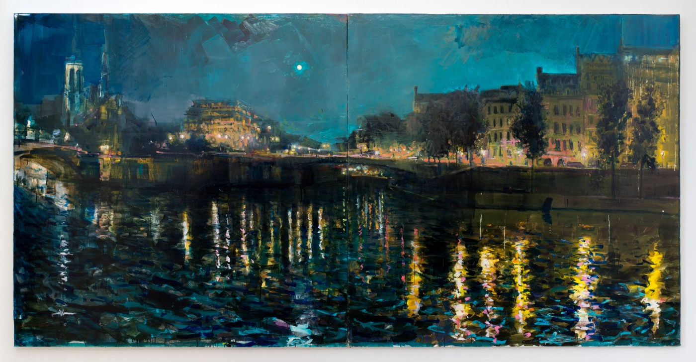 DAY BY DAY  Seine</I>, 2016  Oil on canvas  183 x 366 cm / 72 x 144 in  NATHAN ZEIDMAN