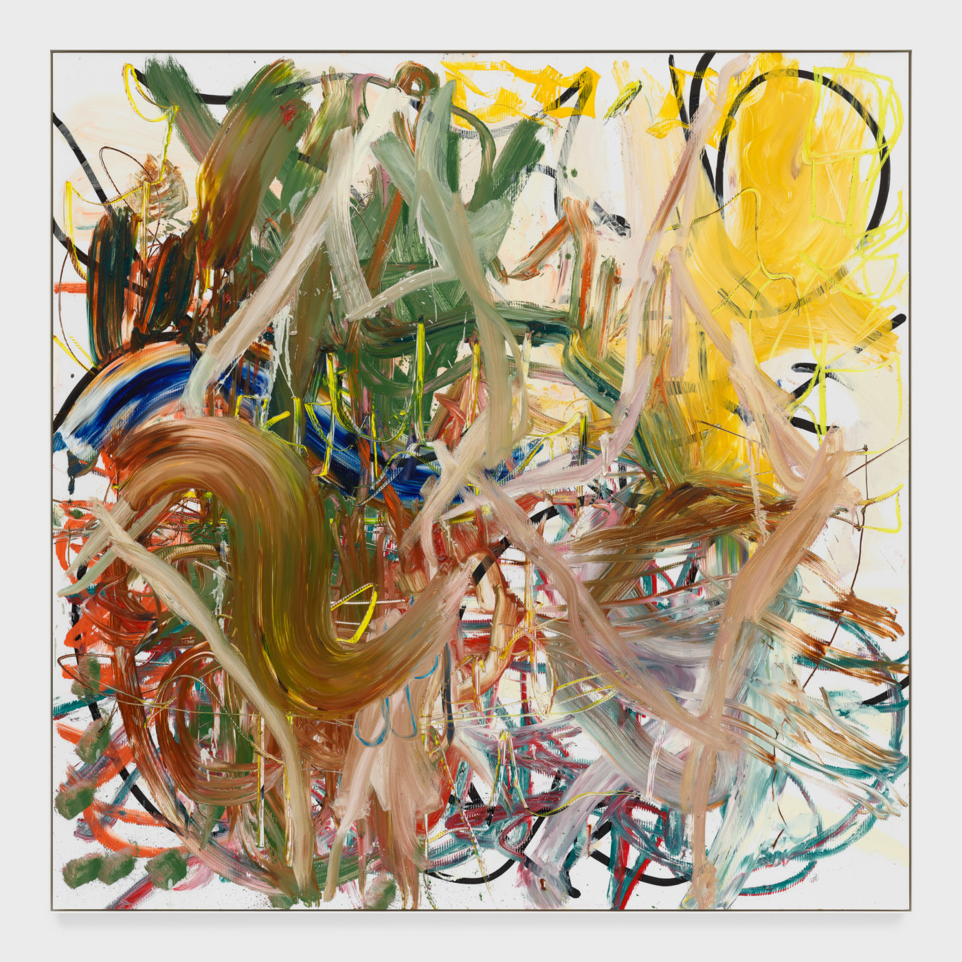 AARON  GARBER-MAIKOVSKA  YELLOW LETTER,  2020 Oil on fluted poly 205 x 205 x 5 cm / 80 3/4 x 80 3/4 x 2 in - High Art Gallery Paris