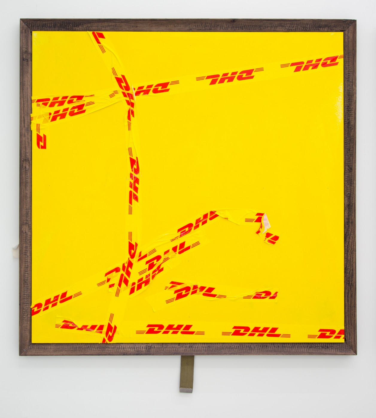 DIRECTION OF TRAVEL  What Do You Do in a Town Where Yellow Still Means Slow Down and Not Speed Up?</I>, 2017 Custom artist tape, wood stain, acrylic, mdf, wood, nails  Approx. 100 x 100 x 3,5 cm / 39 3/8 x 39 3/8 x 1 3/8 in  BRADLEY KRONZ