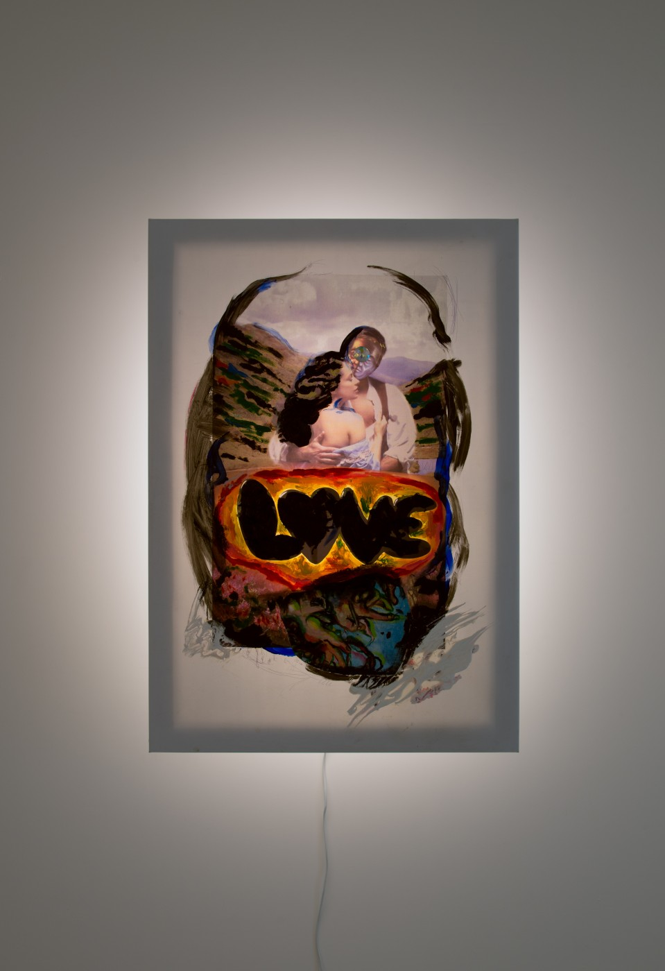 GOLD  Love</I>, 2017 Acrylic, oil and inkjet on vinyl, marker pen, acrylic iridescent gem, wood, steel, LED light 100 x 69 x 21 cm / 39.3 x 27.1 x 8.2 in  JOHN RUSSELL
