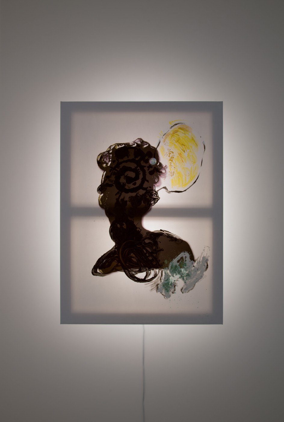 GOLD  Silhouette</I>, 2017 Acrylic, inkjet and pigment on vinyl, plastic, acrylic iridescent gem, wood, steel, LED light 94 x 68,5 x 21 cm / 37 x 26.9 x 8.2 in  JOHN RUSSELL