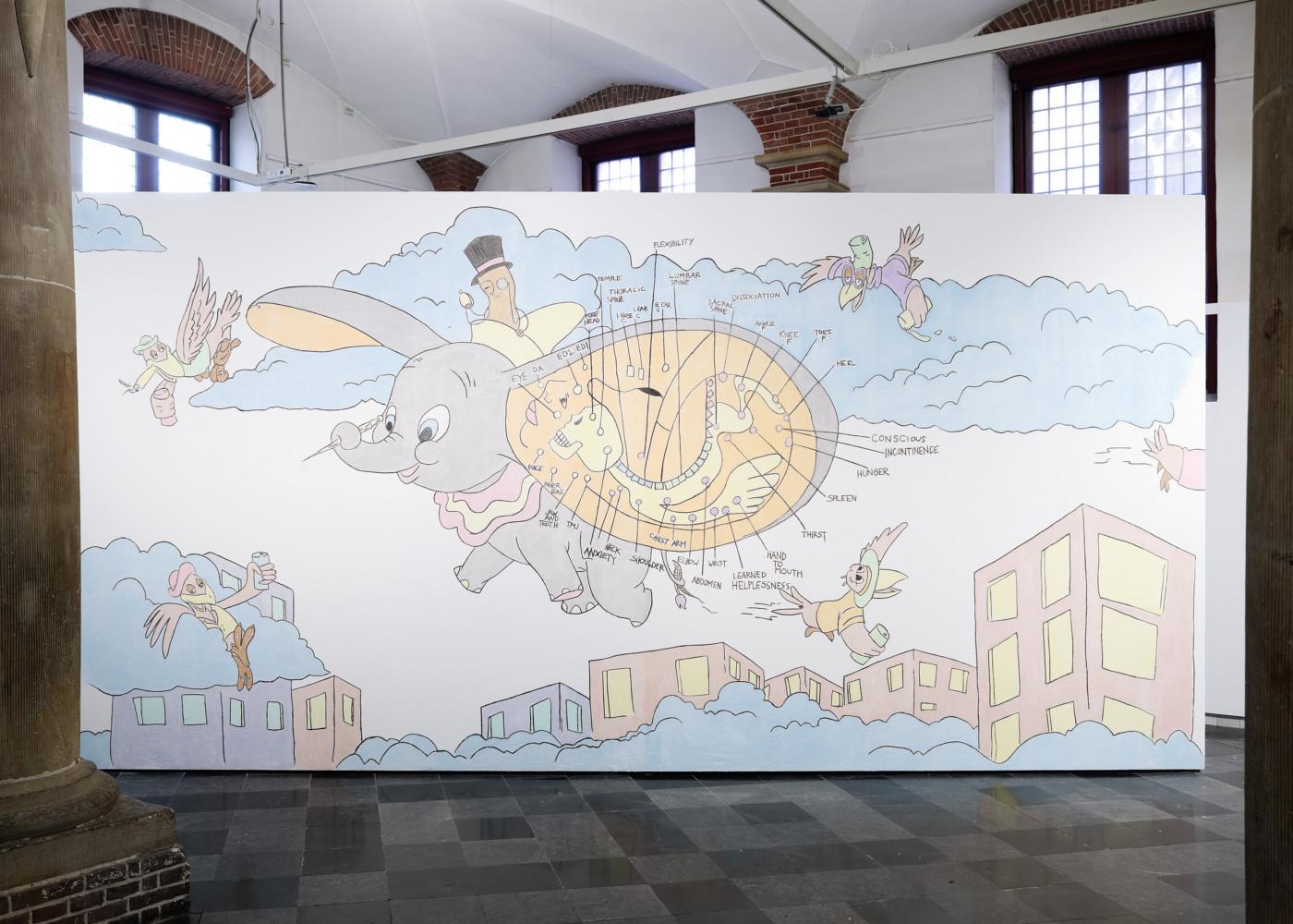 DENA YAGO  Ear Seed,  2020 Colored chalk installation 325 x 162,5 cm / 128 x 64 1/8 in - High Art Gallery Paris