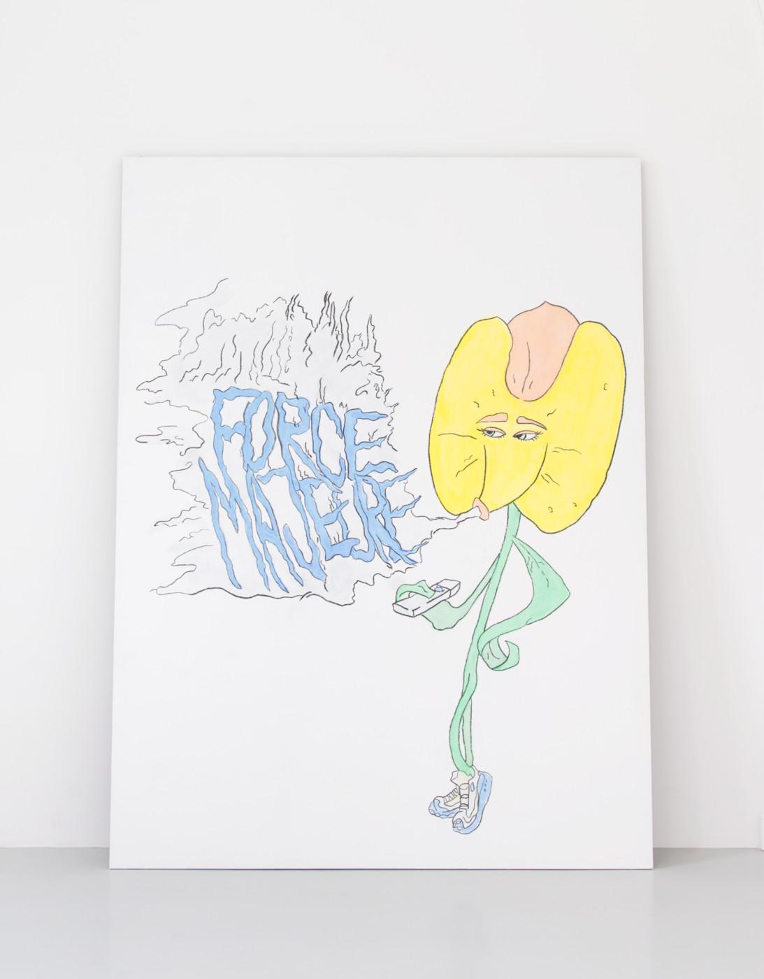 DENA YAGO  Hands Full , 2019 MDF, acrylic, tempera, chalk and charcoal 245 x 185 x 3 cm / 96 1/2 x 72 7/8 x 1 1/8 in - High Art Gallery Paris