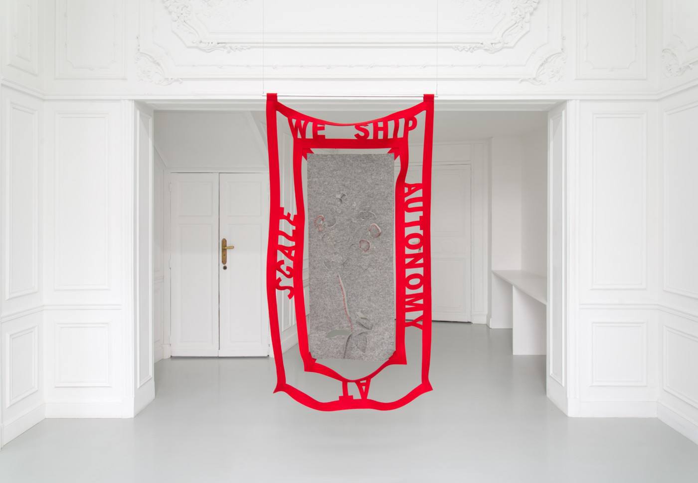 DENA YAGO  WE SHIP AUTONOMY AT SCALE , 2019 Pressed wool, silver, aluminum 160 x 91 cm / 63 x 35 7/8 in - High Art Gallery Paris