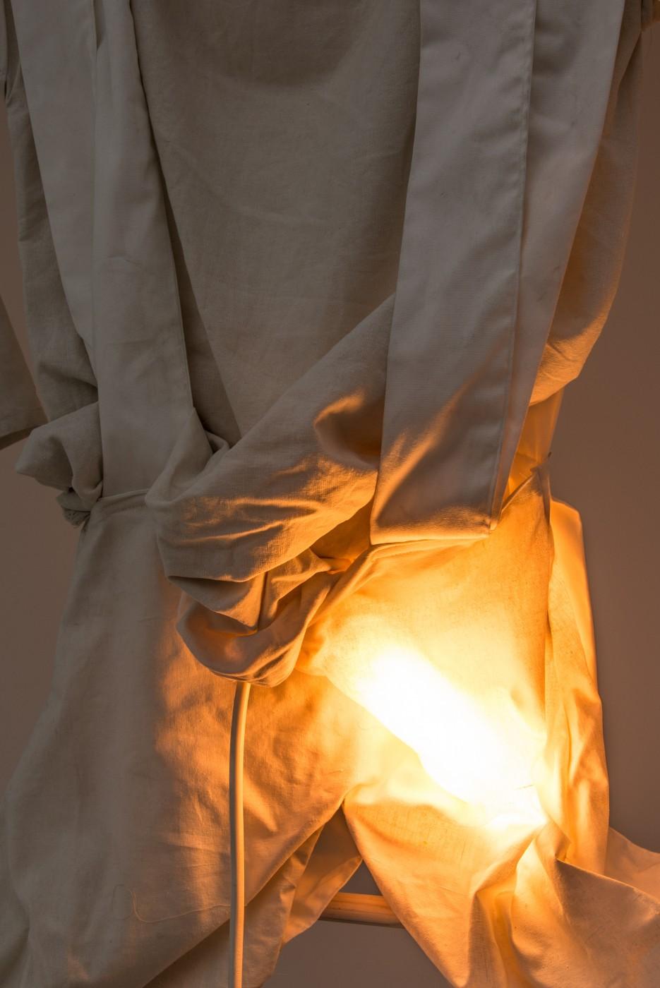 SORRY  My Shape</I> (detail), 2018 Cotton, rope, light, wood 130 x 80 x 20 cm / 51.2 x 31.5 x 7.9 in  MÉLANIE MATRANGA