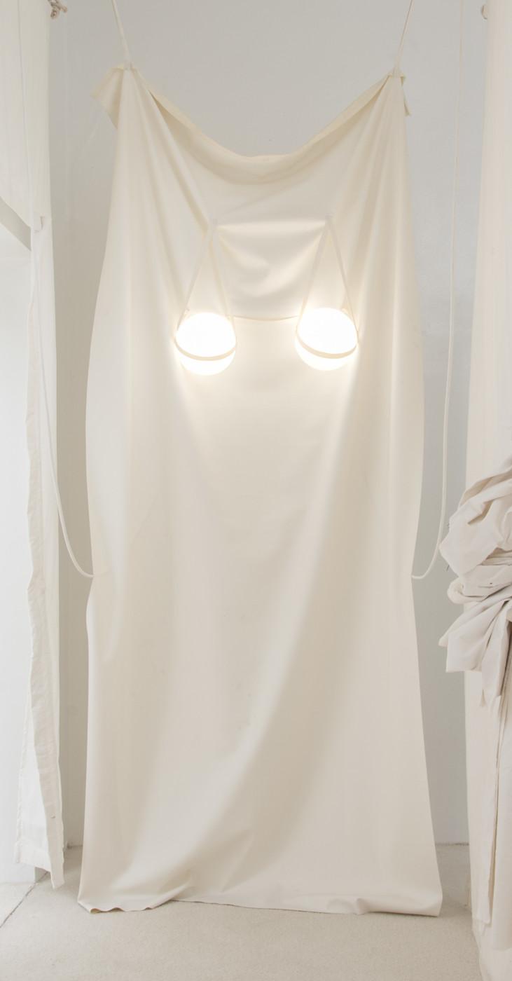 MÉLANIE MATRANGA  Ca , 2018 Synthetic later, opalines, wires 276 x 125 x 2 cm / 108.6 x 49.2 x 0.7 in - High Art Gallery Paris