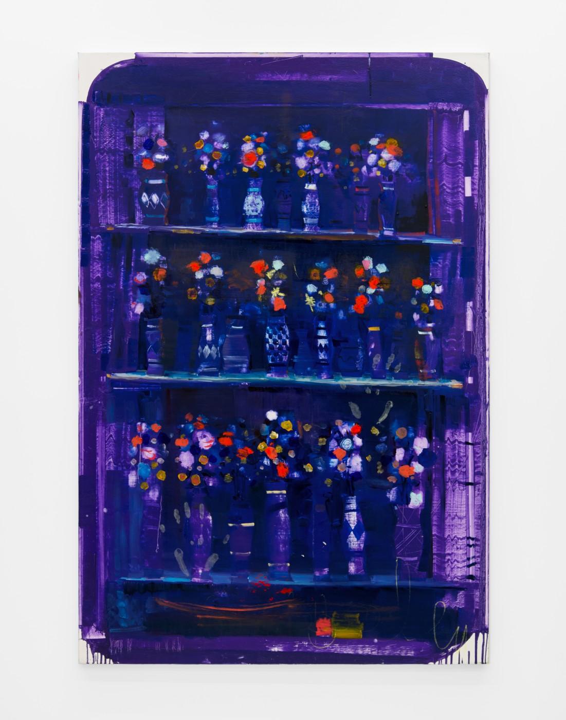 WALLFLOWERS, MALFLOWERS  Provence Bluish Flowers #2 , 2018   Oil on canvas  152,4 × 101,6 cm / 60 × 40 in  Nathan Zeidman