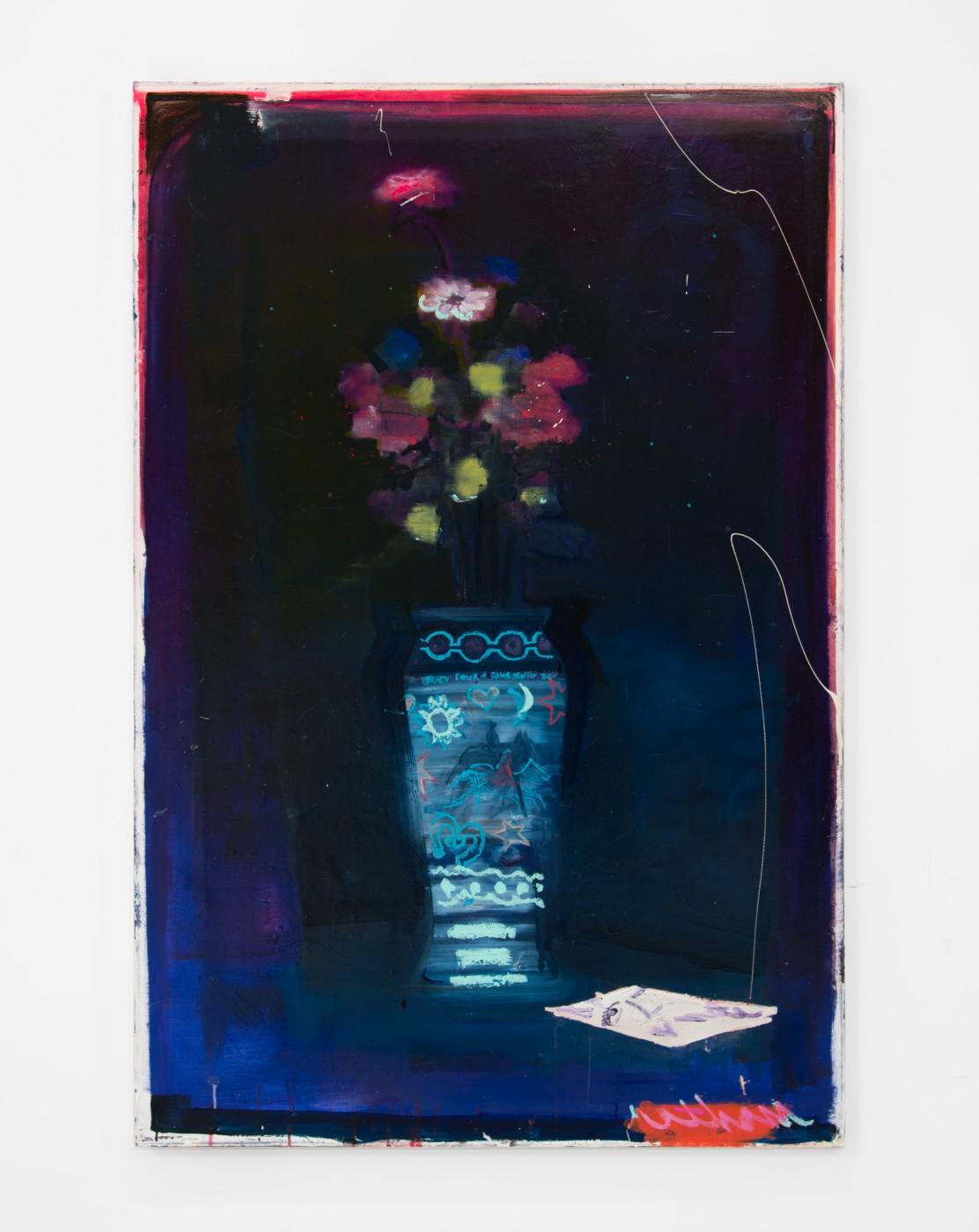 WALLFLOWERS, MALFLOWERS  July 4+4 , 2018  Oil on canvas  152,4 × 101,6 cm / 60 × 40 in  Nathan Zeidman