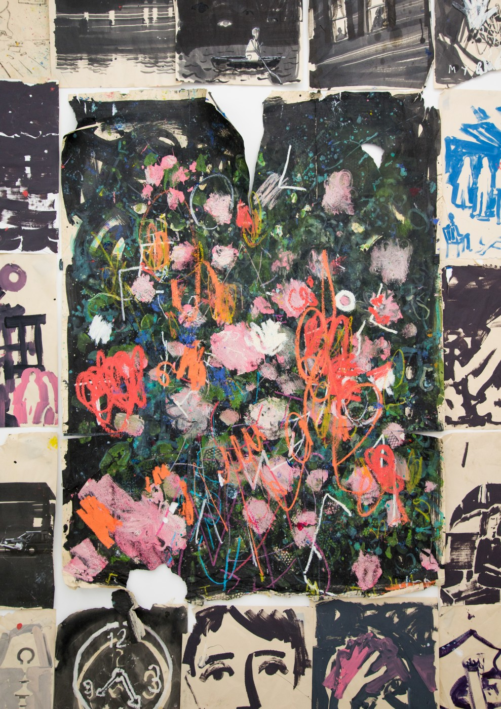 WALLFLOWERS, MALFLOWERS  Untitled , 2018  Oil paint, oil stick, acrylic, ink, small beads on paper  180 x 133 cm / 71 x 52 in  Nathan Zeidman